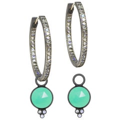 Chloe Chrysoprase Charms and Intricate Oxidized Hoop Earrings