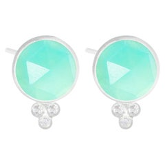 Chloe Chrysoprase Silver Stud Earrings