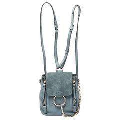 Chloe Cloudy Blue Leather and Suede Mini Faye Daye Backpack