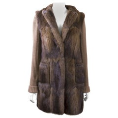 Chloé Coat In Muskrat Fur And Cashmere