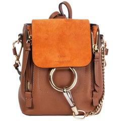 CHLOE cognac brown & orange leather & suede FAYE MINI Backpack Bag