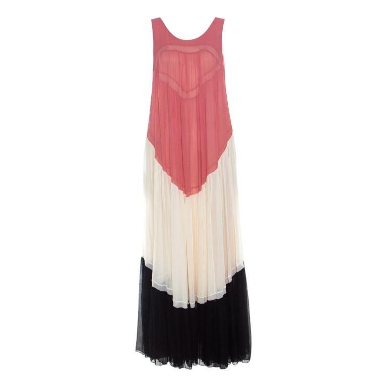 Chloe Coral Cream and Black Color Block Silk Chiffon Ruffled Maxi Dress M