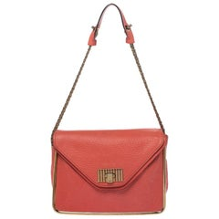 Chloe Coral Orange Leather Medium Sally Flap Shoulder Bag