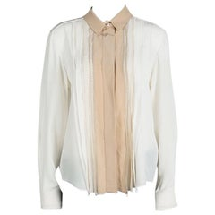 Chloe Cream Contrast Collar and Lapel Ladder Lace Detail Silk Blouse L