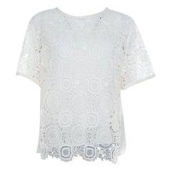 Chloe Cream Cotton and Linen Blend Lace Front Detail Top L