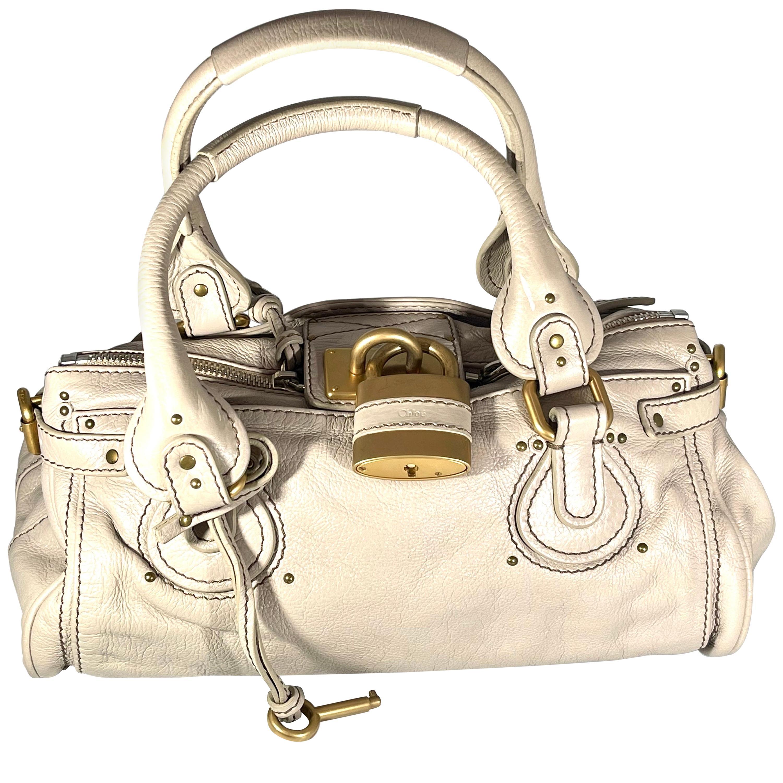 CHLOE Cream Leather Paddington Medium Satchel Bag with Lock & Key