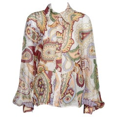 Chloe Cream Paisley Print Silk Crepon Shirt L