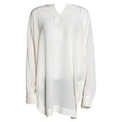 Chloe Cream Silk Long Sleeve Tunic M