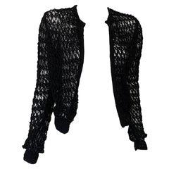 Chloe Crochet Black Open Cardigan