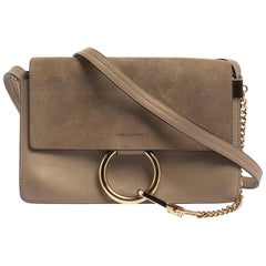 Chloe Dark Beige Leather and Suede Faye Shoulder Bag
