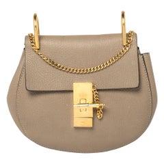 Chloe Dark Beige Leather Small Drew Shoulder Bag