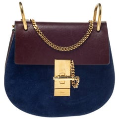 Chloe Dark Brown/Blue Leather and Suede Small Drew Shoulder Bag