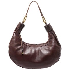 Chloe Dark Brown Leather Crescent Hobo