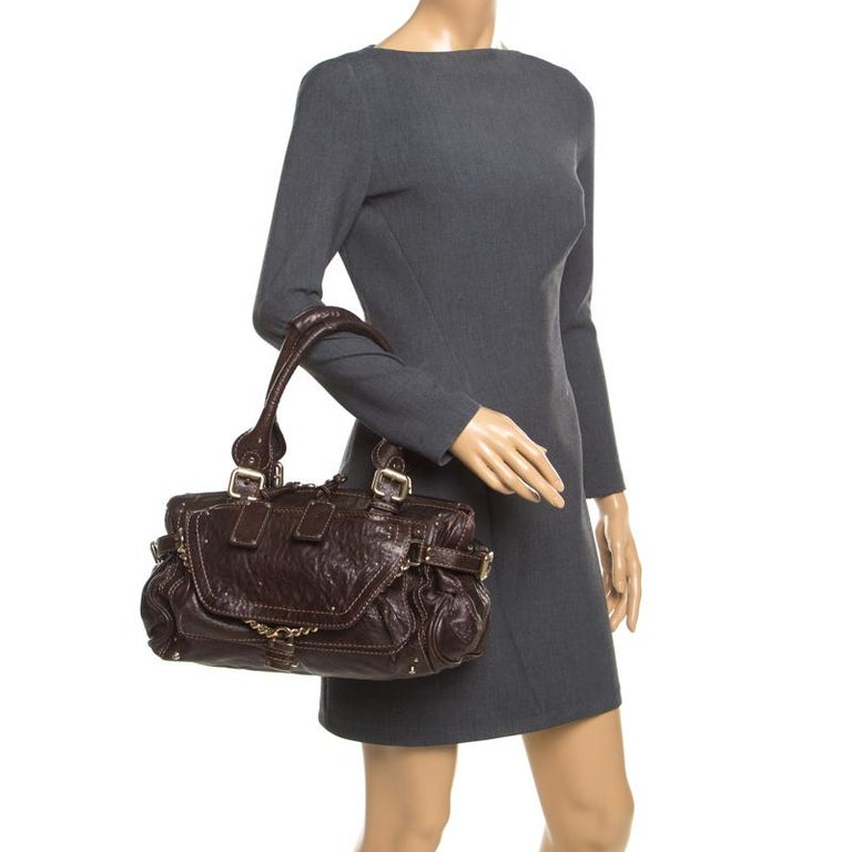 Black Chloe Dark Brown Leather Paddington Capsule Satchel For Sale