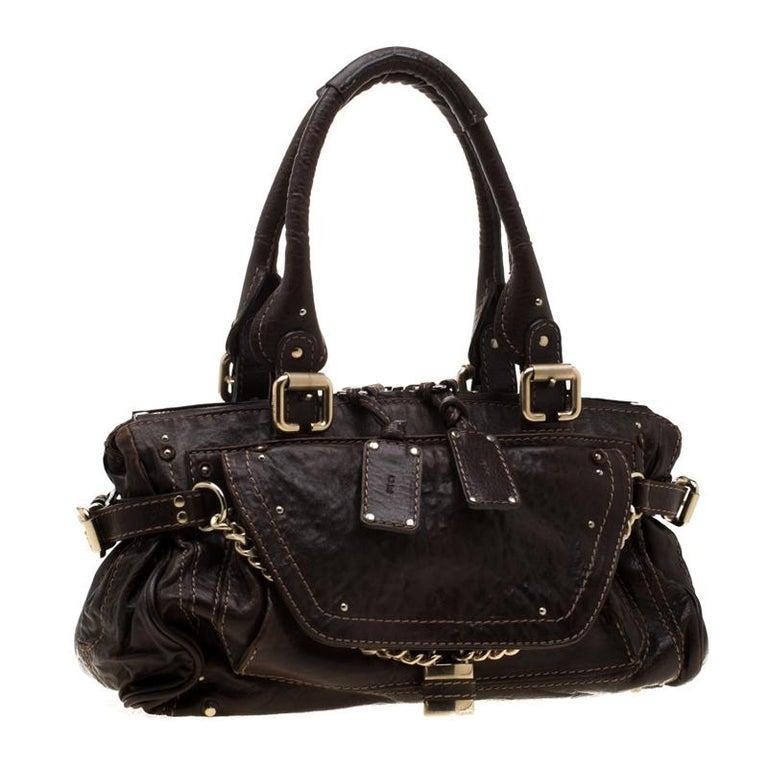 Chloe Dark Brown Leather Paddington Capsule Satchel In Excellent Condition For Sale In Dubai, Al Qouz 2