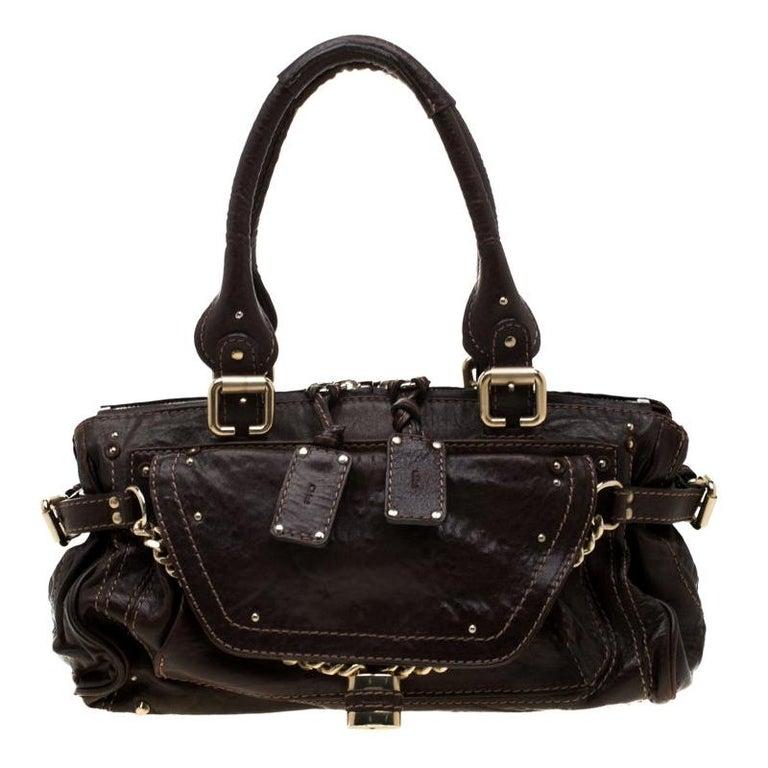 Chloe Dark Brown Leather Paddington Capsule Satchel For Sale