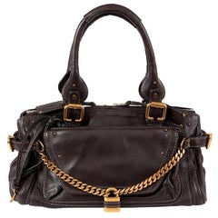 CHLOE dark brown leather PADDINGTON CAPSULE Satchel Shoulder Bag