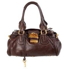 CHLOE dark brown leather PADDINGTON Satchel Shoulder Bag
