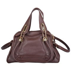 Chloe Dark Brown Leather Small Paraty Shoulder Bag