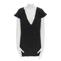CHLOE dark grey merino wool yack blend V-neck grid chunky knit vest sweater S