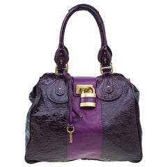 Chloe Dark Purple Patent Leather Paddington Tote