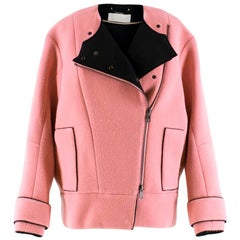 Chloe Detachable-Collar Pink Wool-Blend Biker Jacket US 2