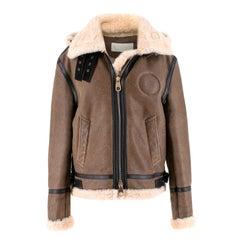 Chloe detachable-hood brown shearling jacket - SIZE 0/2