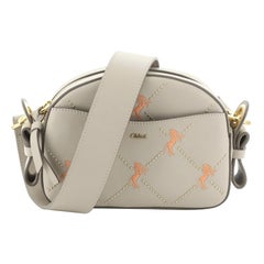 Chloe Dome Shoulder Bag Studded Embroidered Leather Small