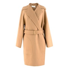 Chloe Double-Faced Wool-Blend Camel Coat US 4