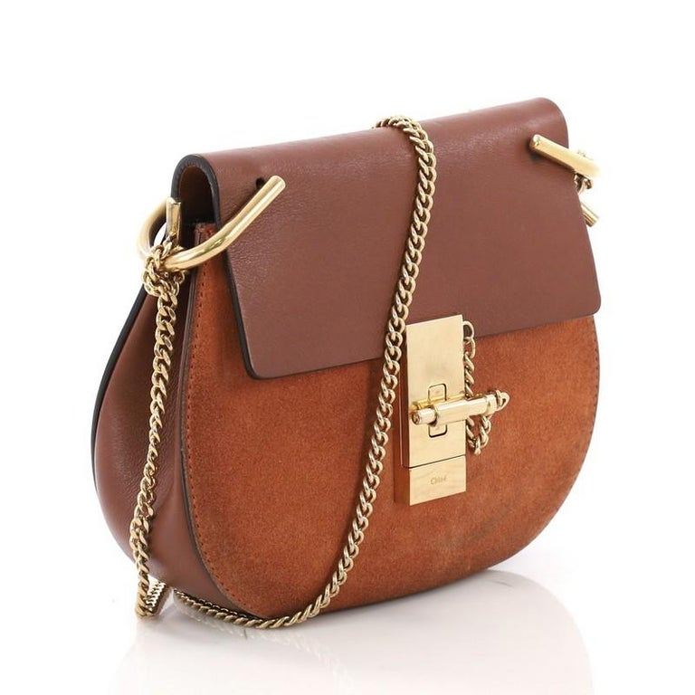 Brown Chloe Drew Crossbody Bag Leather and Suede Mini