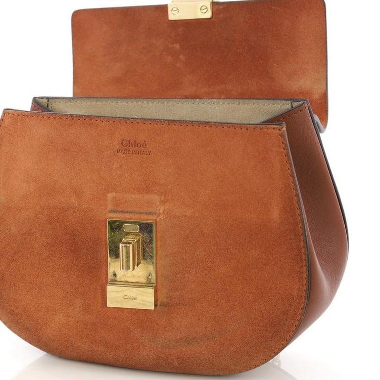 Chloe Drew Crossbody Bag Leather and Suede Mini 2