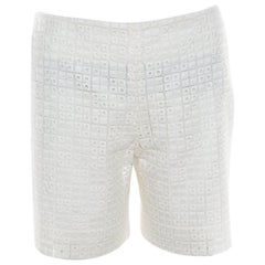 Chloe Ecru Eyelet Embroidered Cotton Shorts M