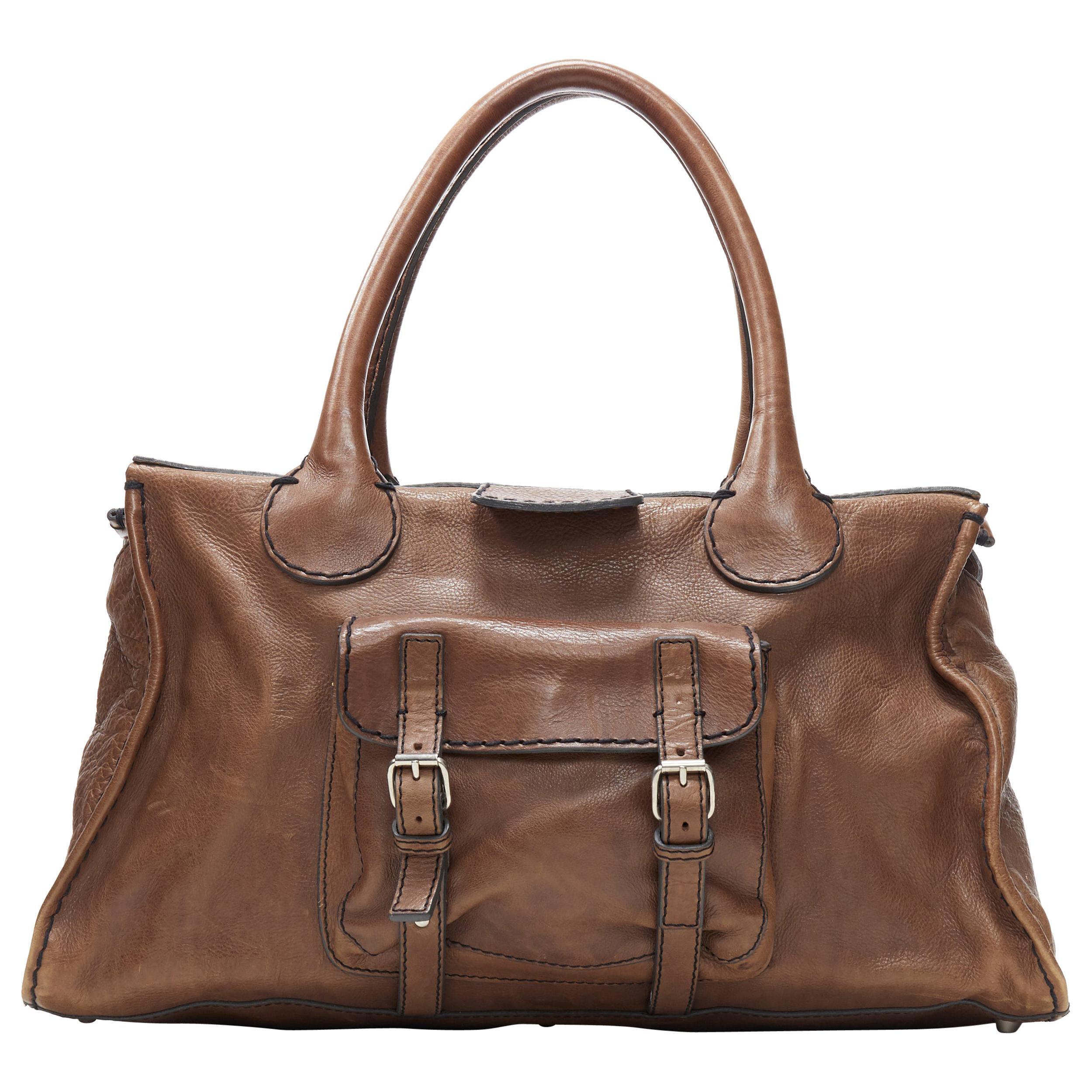 CHLOE Edith dark brown leather buckle pocket top handle large tote bag