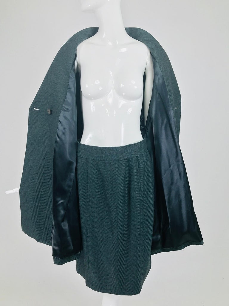 Chloe embroidered teal wool swing jacket and skirt from the 1980s For Sale 5