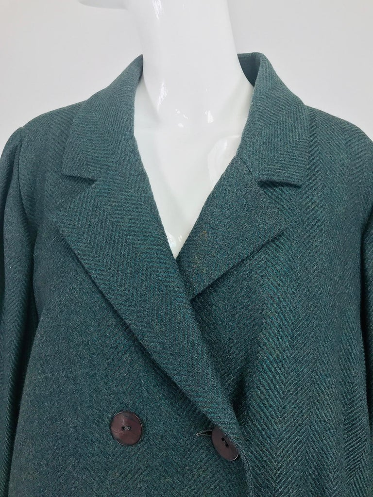 Chloe embroidered teal wool swing jacket and skirt from the 1980s For Sale 7