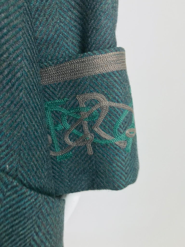 Chloe embroidered teal wool swing jacket and skirt from the 1980s For Sale 8