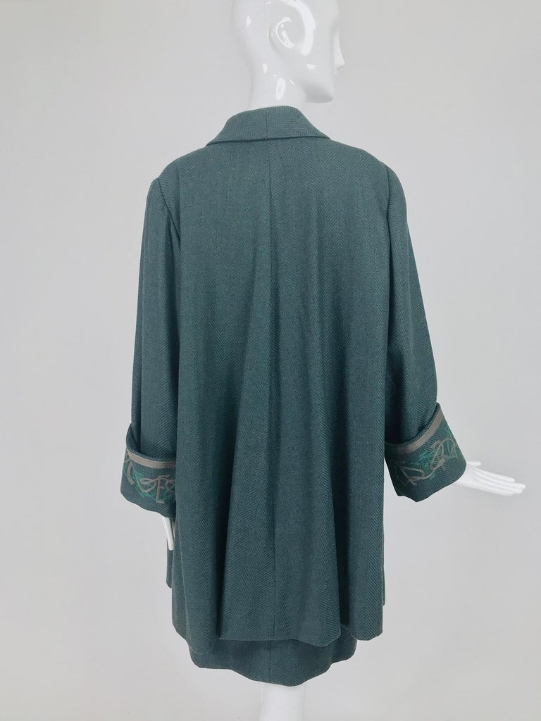 Chloe embroidered teal wool swing jacket and skirt from the 1980s For Sale 1