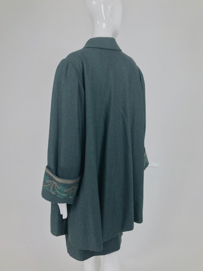 Chloe embroidered teal wool swing jacket and skirt from the 1980s For Sale 2