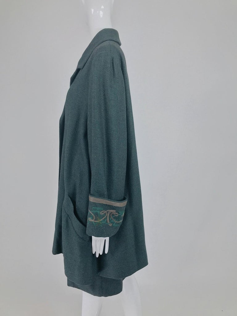 Chloe embroidered teal wool swing jacket and skirt from the 1980s For Sale 3
