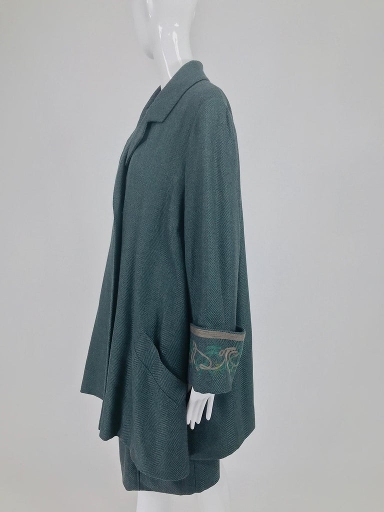 Chloe embroidered teal wool swing jacket and skirt from the 1980s For Sale 4