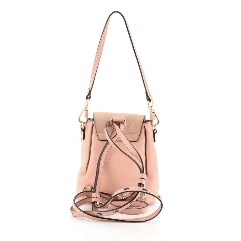Beige Chloe Faye Backpack Leather And Suede Mini For Sale