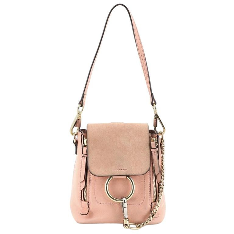 Chloe Faye Backpack Leather And Suede Mini For Sale