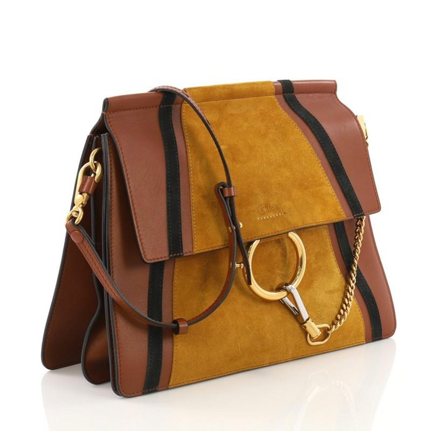 9ffbbe9226cfc Chloe Faye Patchwork Shoulder Bag Suede and Leather Medium at 1stdibs
