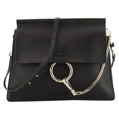 Chloe Faye Shoulder Bag Leather Medium, crafted with black leather