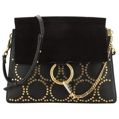 Chloe Faye Shoulder Bag Studded Leather and Suede Medium
