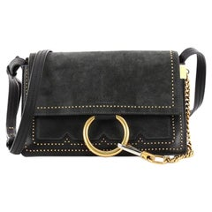 Chloe Faye Shoulder Bag Studded Leather and Suede Small