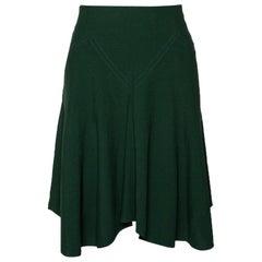 Chloe Forest Green Crepe Flared Skirt M