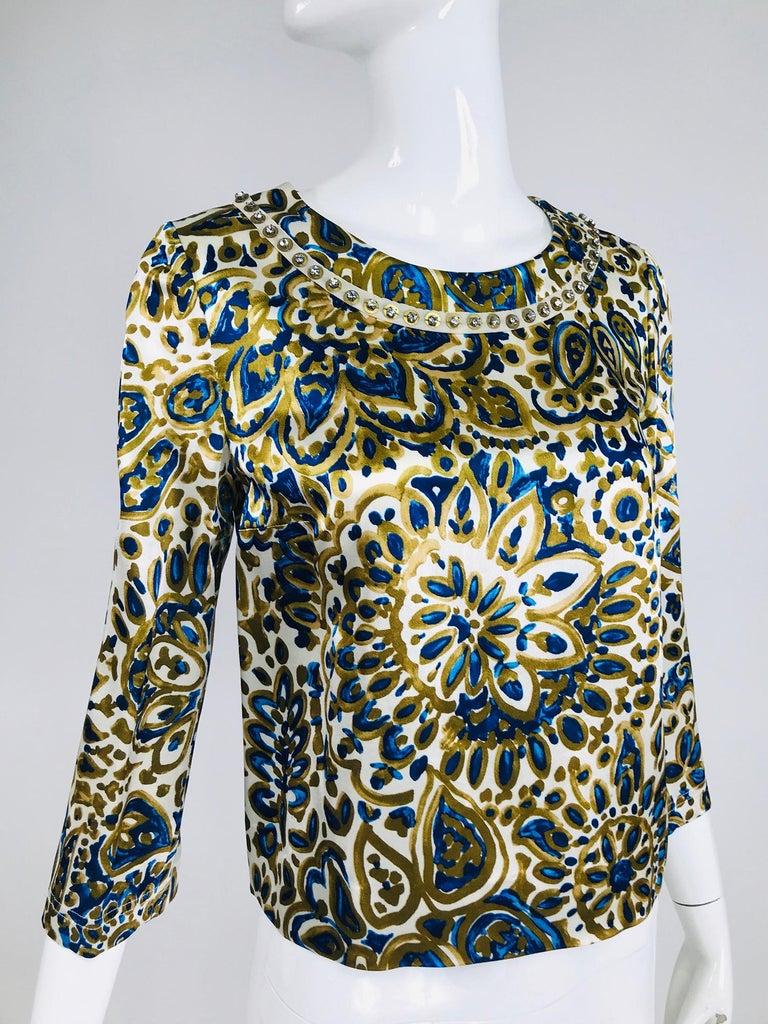 Black Chloe' Gold & Blue Rhinestone Jewel Neckline Blouse  For Sale