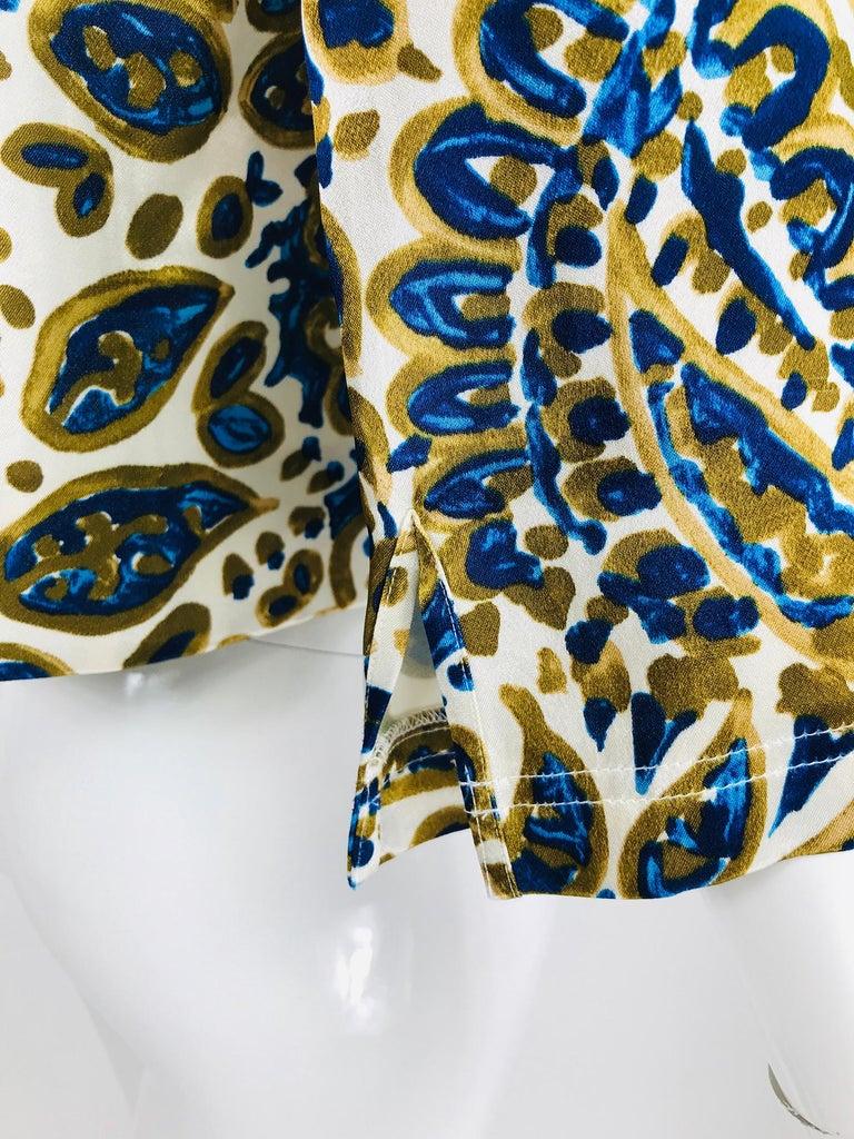 Women's Chloe' Gold & Blue Rhinestone Jewel Neckline Blouse  For Sale