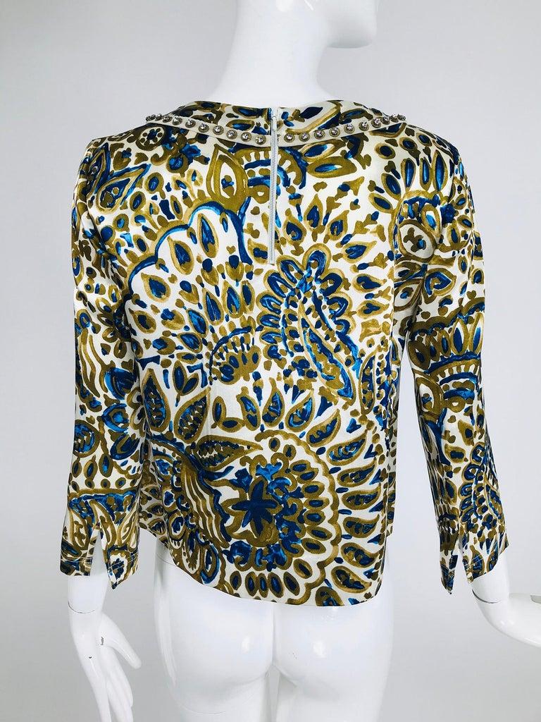 Chloe' Gold & Blue Rhinestone Jewel Neckline Blouse  For Sale 1